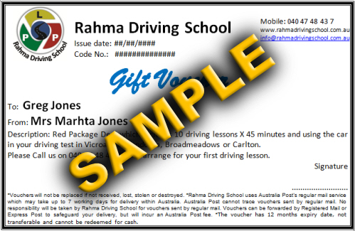 Driving school lessons gift voucher for friend or family melbourne gift vouchers for yadclub Image collections